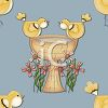 picture of bird surrounding a bird bath with flowers in a vector clip art illustration clipart