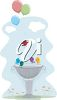 picture of birds having a party in a bird bath in a vector clip art illustration clipart