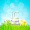 Easter eggs and spring grass clipart