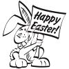 Picture of an easter bunny holding a happy easter sign in a vector clip art illustration clipart