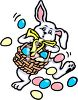 picture of an easter bunny carrying and dropping a basket full of easter eggs in a vector clip art illustration clipart