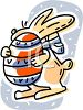 picture of a bunny holding an easter egg in a vector clip art illustration clipart