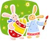 picture of bunny rabbits painting an easter egg in a vector clip art illustration clipart