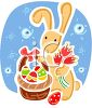 picture of a bunny rabbit holding flowers and an easter egg basket in a vector clip art illustration clipart