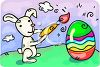 picture of a bunny coloring an easter egg in a vector clip art illustration clipart