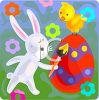 picture of a bunny coloring an easter egg with a bird on top in a vector clip art illustration clipart