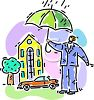 Man with an Umbrella in the Rain clipart