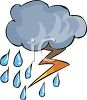 Rain Cloud with Lightening and Raindrops clipart