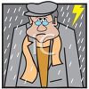 Man Standing in the Rain clipart