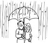 Man and Woman with an Umbrella in the Rain clipart
