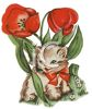 Spring Tulips with a Kitten clipart