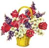 Spring Tulips and Flowers in a Basket clipart