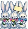 Easter Bunnies Holding Spring Tulips and a Sign clipart