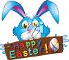 Easter Bunny with a Happy Easter Sign Image clipart