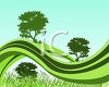 Silhouettes of Trees and Grass clipart