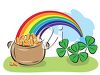 Pot of Gold with a Rainbow and Shamrocks clipart
