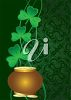 St. Patrick's Day Illustration of a Pot of Gold and Shamrocks clipart