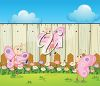 Butterflies and Flowers by a Garden Fence clipart
