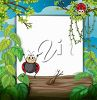 Ladybugs and a Blank Sign and Trees clipart