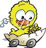 Easter Chick Driving an Egg Cartoon clipart
