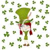 St. Patrick's Day Leprechaun with Shamrocks clipart