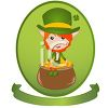 St. Patrick's Day Leprechaun Sitting on a Pot of Gold clipart