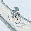 Boy Cycling in the Rain Image clipart