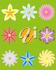 Image of a selection of different flower icons. clipart