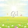 A beautiful Spring day illustration with bright sunshine and butterflies. clipart