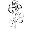 Simple drawing of a single rose. clipart