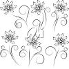 A selection of simple line drawn flowers. clipart