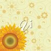 Beautiful sunflower image with floral decorations behind it. clipart