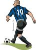 Image of a man playing soccer. clipart