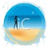 Silhouette of a woman walking along the beach. clipart