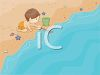 Image of a little boy playing on the beach with a bucket and stick. clipart
