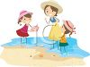 Image of a woman collecting shells on a beach with her children. clipart