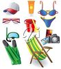 A collection of beach themed objects. clipart