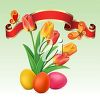 Clipart image of Spring tulips with Easter eggs, a banner and butterflies. clipart