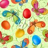 Floral clipart image of butterflies and Easter eggs. clipart