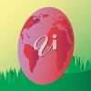Image of a giant Earth-shaped Easter Egg with grass behind it. clipart