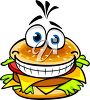 Cartoon clipart image of a smiling hamburger with lettuce and cheese. clipart