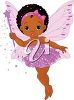 Image of a little african-american fairy waving a magic wand. clipart