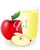 Clipart image of a glass of fresh apple juice and an apple. clipart