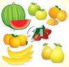 Clipart image of apples, oranges, strawberries, peaches, bananas and pears. clipart
