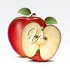 Clipart image of half an apple with a whole apple. clipart