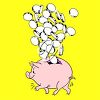 Clip art image of money being added to a pigy bank. clipart
