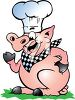 Cartoon clip art illustration of a smiling pig dressed as a chef. clipart
