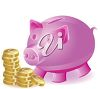 Clipart image of a pink piggy bank witg gold coins. clipart