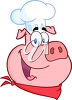 Clipart cartoon of a pig dressed as a chef. clipart