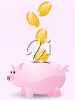 Clip art piggy bank with money falling down into it. clipart